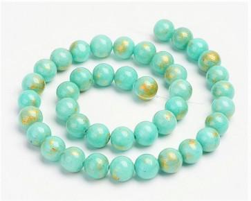 Jade Perlen, Naturstein, rund, türkis / gold gefärbt, 6mm, 1 Strang