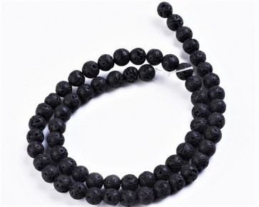 Lava-Perlen, Edelsteinperlen, rund, schwarz, 8mm, 1 Perlenstrang