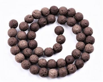 Lava-Perlen, Edelsteinperlen, rund, braun, 8mm, 1 Perlenstrang