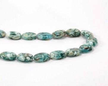 Perlmutt-Resin Perlen, ovales Kissen 18x13mm aqua-grün, 1 Strang
