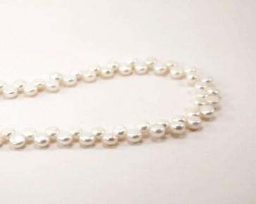 Zuchtperlen AA, Button, weiss, 6 - 7 mm, 1 Perlenstrang