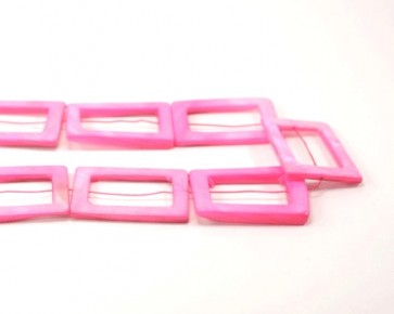 Perlmutt Perlen, Rechteck, pink, 35x25mm, 1 Strang