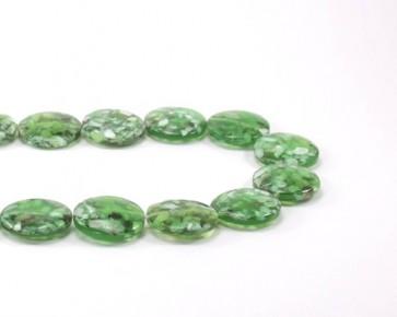 Perlmutt-Resin Perlen, flach rund, 20mm, moos-grün, 1 Strang