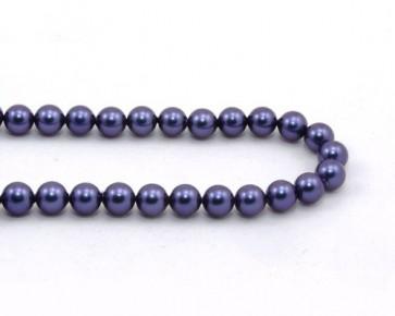 Muschelkern-Perlen, rund, blau, 8 mm, 1 Perlenstrang
