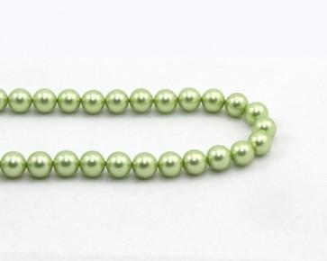 Muschelkern-Perlen, rund, hellgrün, 8 mm, 1 Perlenstrang