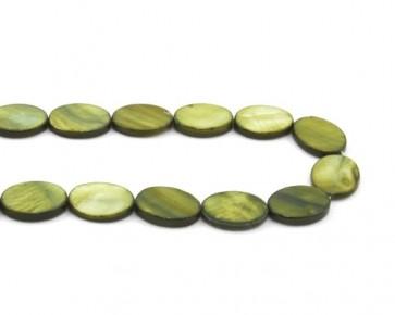 Perlmutt-Perlen, ovale Scheibe, olivgrün, 20 x 15 mm, 1 Perlmuttstrang