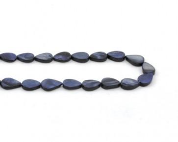 Perlmutt-Perlen, Tropfen, blau, 14 x 10 mm, 1 Perlenstrang