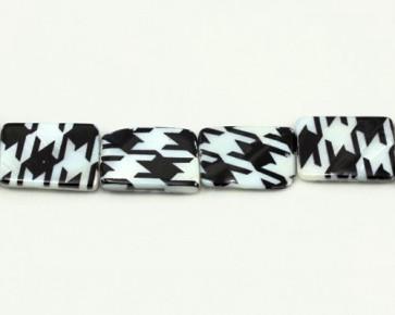 Perlmutt-Perlen, Rechteck flach, schwarz-weiss, 20x15mm, Perlmuttstrang