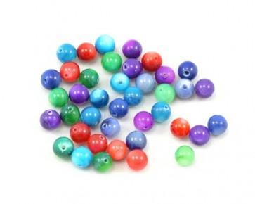 Perlmutt-Perlen, rund, bunt gemischt, 6 mm, 40 Perlen