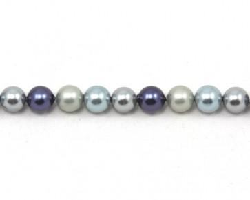 Muschelkern-Perlen, rund, blau-grau, 8 mm, 1 Perlenstrang