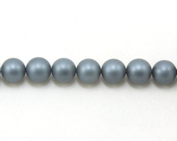 Muschelkern-Perlen, 10 mm, rund, dunkel-blau matt, 1 Perlenstrang