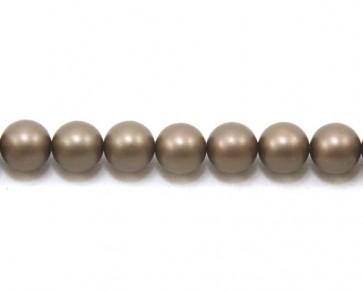 Edle matte Muschelkernperlen, 10 mm, rund, dunkelbraun satiniert, 1 Perlenstrang