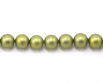 Edle matte Muschelkernperlen, 10 mm, rund, oliv-grün satiniert, 1 Perlenstrang