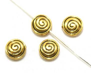 Metallperlen, Spacer Perlen 8mm, Scheibe Spirale, antik gold, 20 Stk.