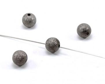 Metallperlen, Stardust Perlen, dunkelgrau, rund, 10mm, 20 Perlen
