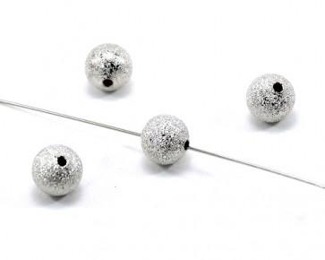 Metallperlen, Stardust Perlen, silberfarbig, rund, 10mm, 20 Perlen