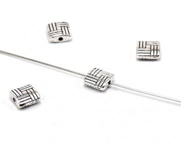 Metallperlen, 8mm, antik silber, flaches Quadrat, 10 Perlen