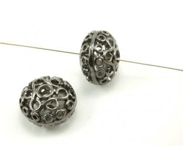 Metallperlen, schwarz, filigrane Linse, 14 x 20 mm, 3 Perlen