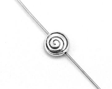 Metallperlen, Spacer Perlen 8mm, Scheibe Spirale, antik silber, 20 Stk.