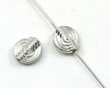 Metallperlen, Spirale, Schnecke, 11 x 10mm, silberfarbig, 10 Perlen