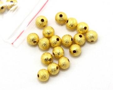 Metallperlen Stardust Perlen, 6 mm, rund, goldfarbig, 20 Stk.