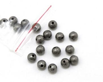 Metallperlen, Stardust Perlen, 6mm, rund, dunkelgrau / schwarz, 20 Perlen