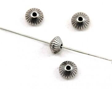 Metallperlen, antik silber, 5 x 8 mm, Ufo gestreift, 20 Perlen