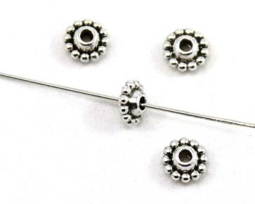 Metallperlen, Tibetsilber Perlen, 6 x 9 mm, Rondellen / Linse, 20 Perlen