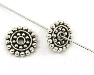 Metallperlen, 14mm, flach rund, antik silberfarbig, 10 Perlen