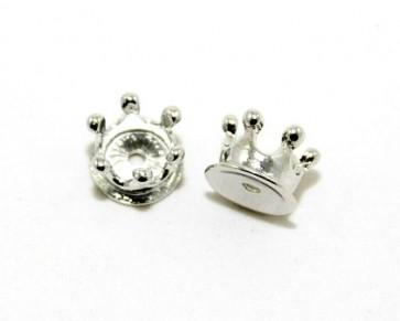 Metallperlen, Kronen, 14 x 10 mm, silberfarbig, 4 Perlen