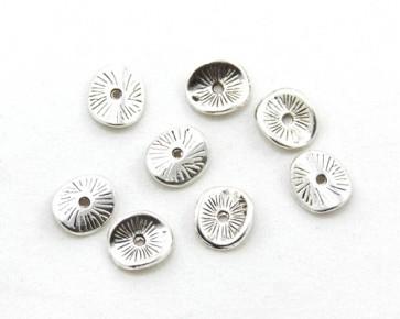 Metallzwischenteile, Metallperlen, Scheibe gewellt, 9.5mm, antik silberfarbig, 20 Stk.