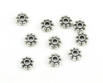 Metallperlen, Spacer Rondellen, Blumen, antik silberfarbig, 8mm, 40 Perlen