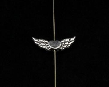 Engelsflügel mit Herz, Metallperlen silber, 22x9mm, 20 Flügelperlen
