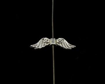 Metallperlen, Engelsflügel Perlen, antik silber, 22 x 6 mm, 20 Flügelperlen