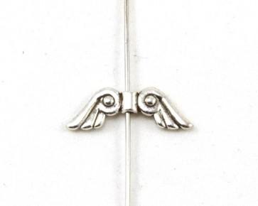 Metallperlen, Engelsflügel Perlen, antik silber, 22 x 7 mm, 20 Perlen