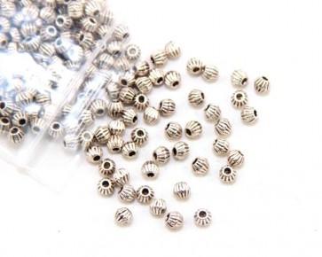 Metallperlen, Spacer Perlen, 4mm, antik silber, Bicones gerillt, 100 Perlen
