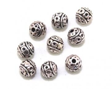Metallperlen, Spacer Perlen, 8mm, antik silberfarbig, rund verziert, 10 Perlen
