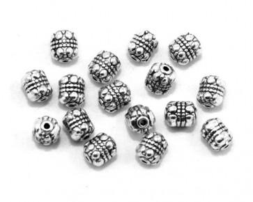 Metallperlen, Spacer, Zwischenteile, 8 x 6.5 mm, oval verziert, antik silberfarbig, 20 Perlen