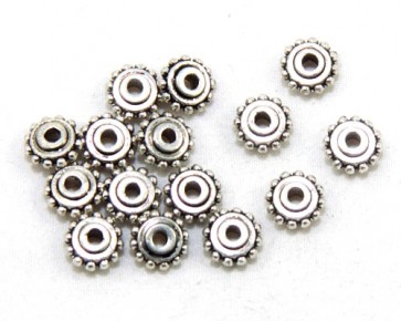Metallperlen, Spacer, Zwischenteile, 4 x 8 mm, Rondellen, antik silberfarbig, 20 Perlen