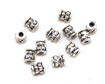Metallperlen, Spacer, Zwischenteile, 6 x 5.5 mm, gepunktetes Röhrchen, antik silberfarbig, 20 Perlen