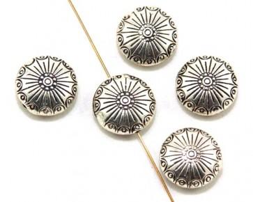 Metallperlen, Tibetsilber, 18 x 9 mm, antik silberfarbig, Linsen verziert, 5 Perlen