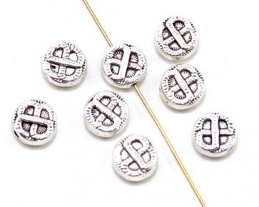 Metallperlen, Zwischenteile, 9.5 mm, flach rund, keltischer Knoten, antik silber, 10 Spacer Perlen