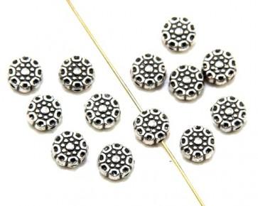 Metallperlen, Zwischenteile, 8 mm, flach rund, Blumen, antik silber, 20 Spacer Perlen