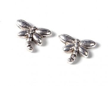 Metallperlen, Libellen, antik silberfarbig, 8 x 6 mm, 25 Perlen