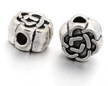 Metallperlen, Blume, keltischer Knoten, antik silberfarbig, 4.5 mm, 50 Spacer Perlen