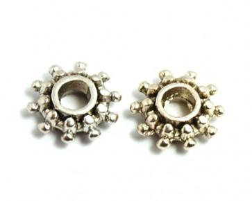 Metallperlen, Spacer Rondellen, Sonne, antik silberfarbig, 8 mm, 50 Spacer Perlen