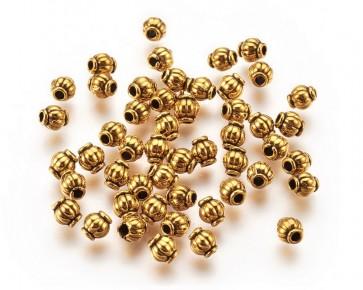Metallperlen, Spacer Perlen, 4.5x4mm, Laterne gerillt, antik goldfarbig