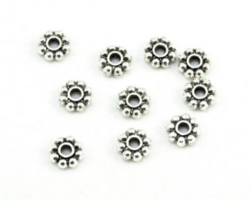 Metallperlen, Spacer Rondellen, Blume, antik silberfarbig, 6mm, 100 Perlen
