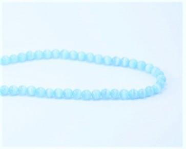 Katzenaugen Glasperlen, 6 mm, rund, türkis / hellblau, 1 Strang