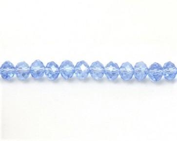 Glasschliffperlen, Rondellen facettiert, 6mm, hellblau mit Lüster, 50 Perlen